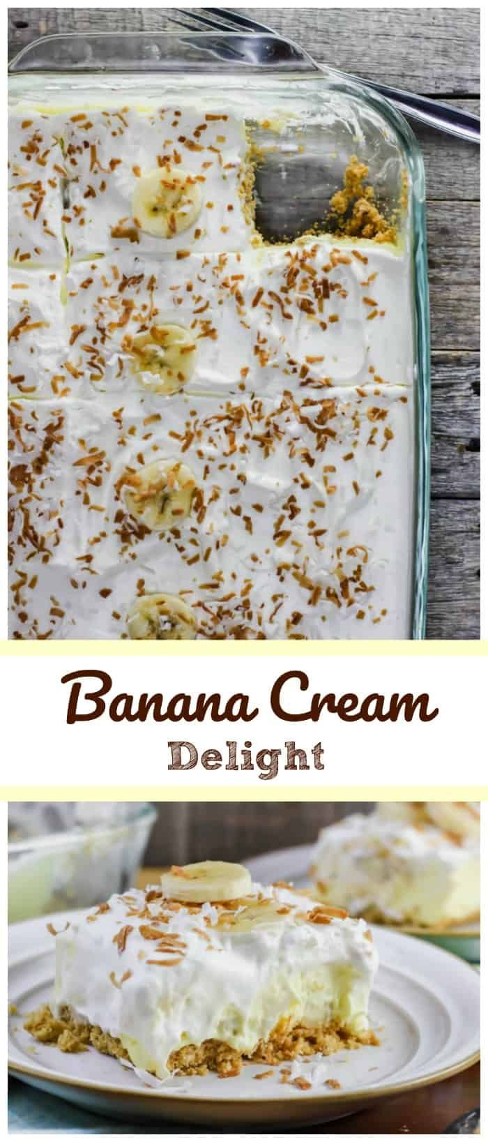 Luscious Banana Cream Delight - Creamy vanilla cheesecake pudding dessert with a layer of banana slices throughout on a buttery graham cracker crust and some fluffy whipped cream on top sounds pretty damn good! It's a classic!! It's delectable!! Banana Cream Pie in a pan!! via @https://www.pinterest.com/BaknChocolaTess/