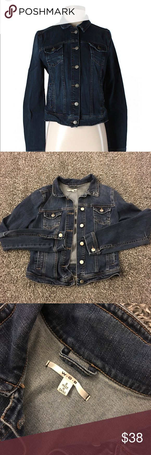 W. G. B. (By Walter Baker) Denim Jacket!! Gently used jacket by Walter Baker. Perfect for layering year round. I found nothing major wrong with this item. May have overlooked something but that just means there  is nothing obviously wrong. G8 shape & SF. Please see the pics for details, condition & measurements. Has 4 front pockets & some natural fade. Cropped style & prob fits best a Jr. small?! See measurements! Questions? Ask! Offers/bundles  but please  models, lowballs (Posh takes a…