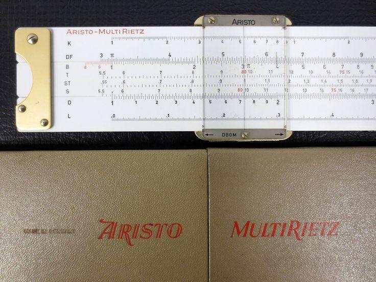 "Vintage Slide Rule from Germany 10"", Original Box, Aristo Multi-Rietz #929"
