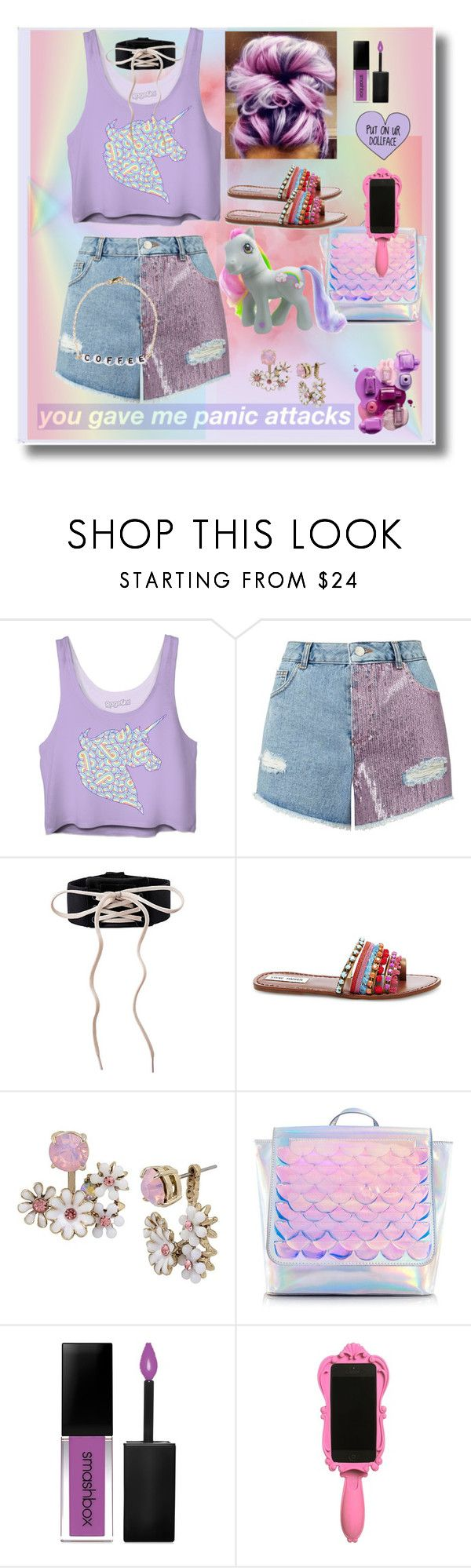 """""""🦄🦄"""" by lulalalala ❤ liked on Polyvore featuring Miss Selfridge, Essie, Steve Madden, Betsey Johnson, Smashbox, Moschino, Ryan Porter and My Little Pony"""