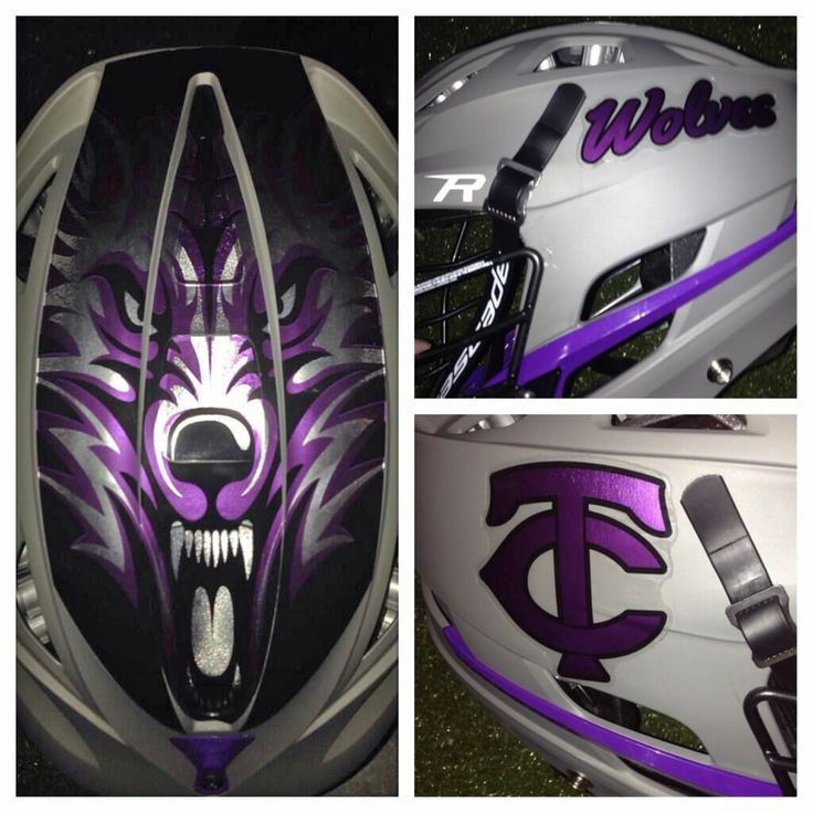 Timber Creek High School in Orlando Florida Chrome Decal kits with Wolf face on top of helmet.