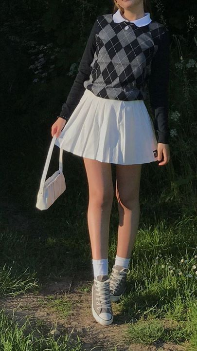 Preppy Fit Inspo School Tennis Skirt Pleated Grandpa Sweater Vest Argyle Pattern Print Animal Y2k In 2020 Tennis Skirt Outfit Cute Casual Outfits Fashion Inspo Outfits