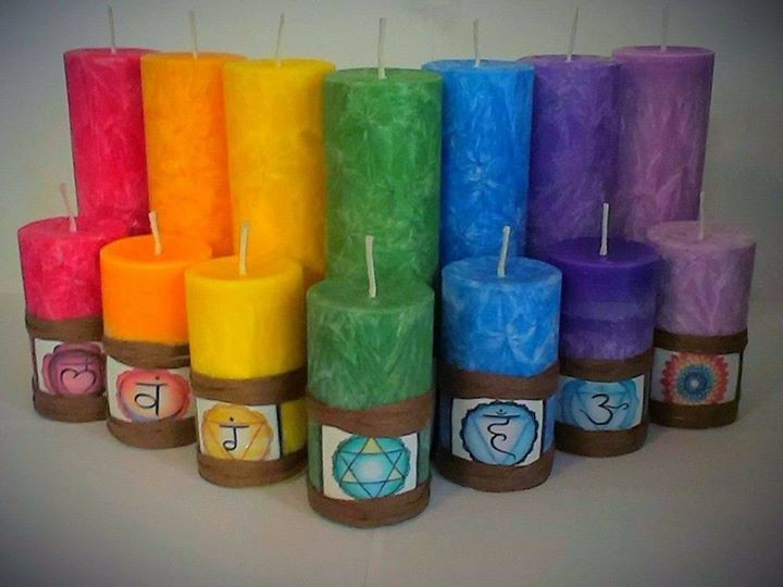 SoyfortheSoul CHAKRA Pillar Sets.  Large, Medium and Small available.  Beautiful for home Decor or for use with meditation.