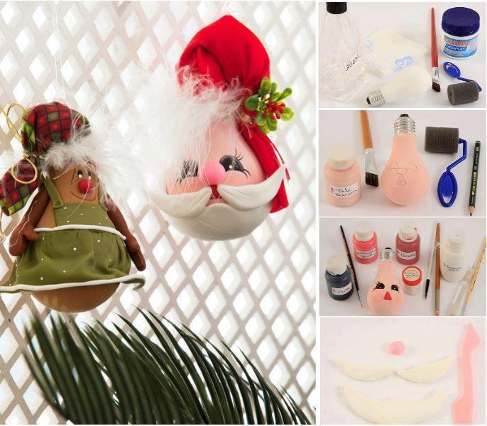 Make Christmas decoration with old light bulbs