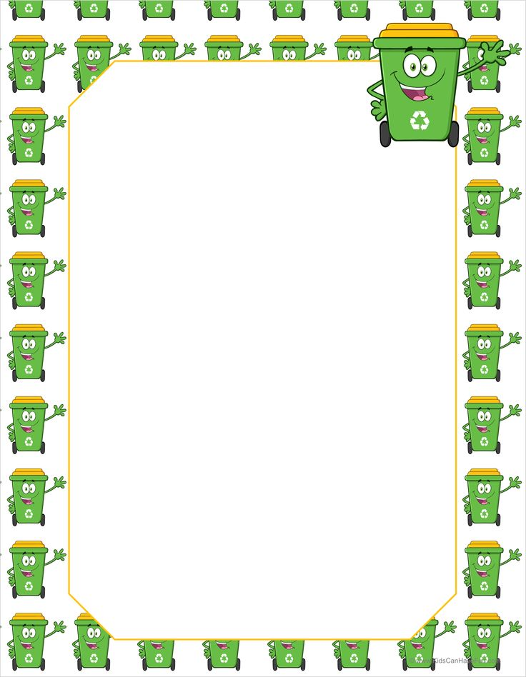 Green Recycle Bin Bordered Writing Paper http://www.kidscanhavefun.com/school-paper.htm #recycle #paper #writing