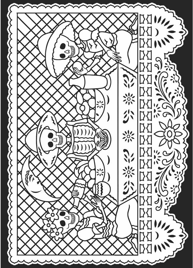 day of the deaddia de los muertos stained glass coloring book dover publications - Dia De Los Muertos Coloring Pages