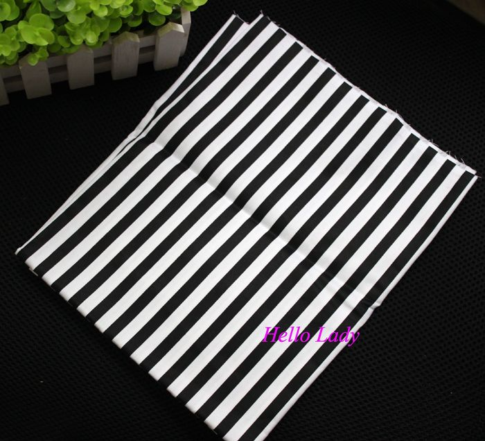 50cm*160cm 100% Cotton Fabric,White and Black Stripe Printed
