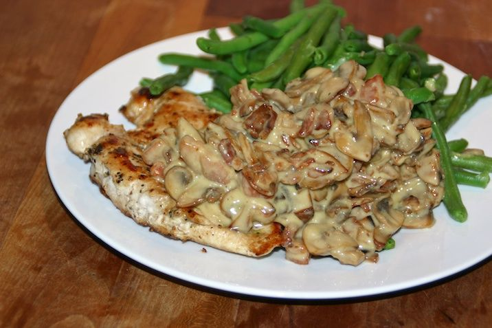 Cream sauce with bacon and mushrooms (served over chicken)