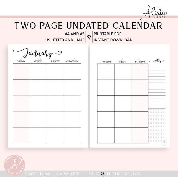 Two Page Undated Monthly Calendar