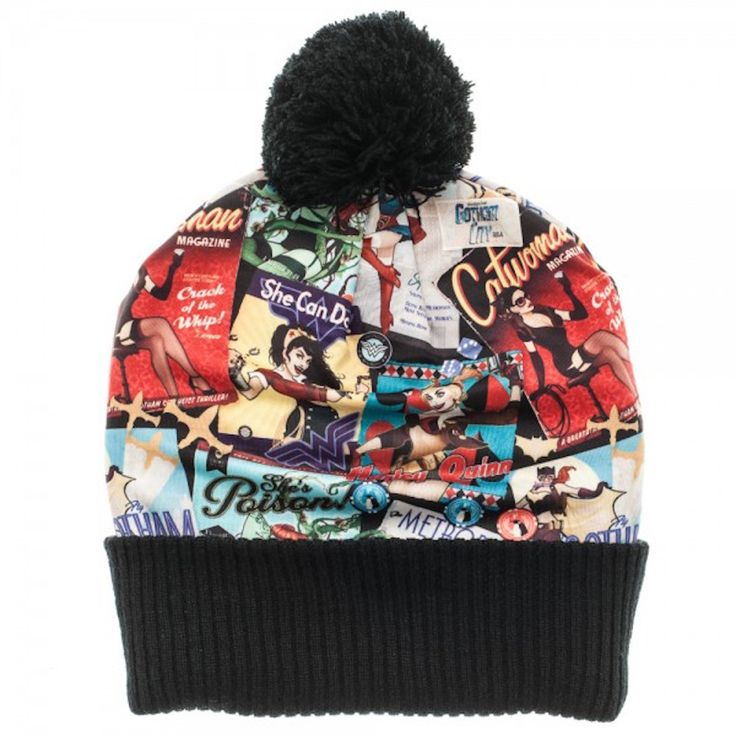 DC Comics Bombshells Over Print Pom Beanie Knit Hat