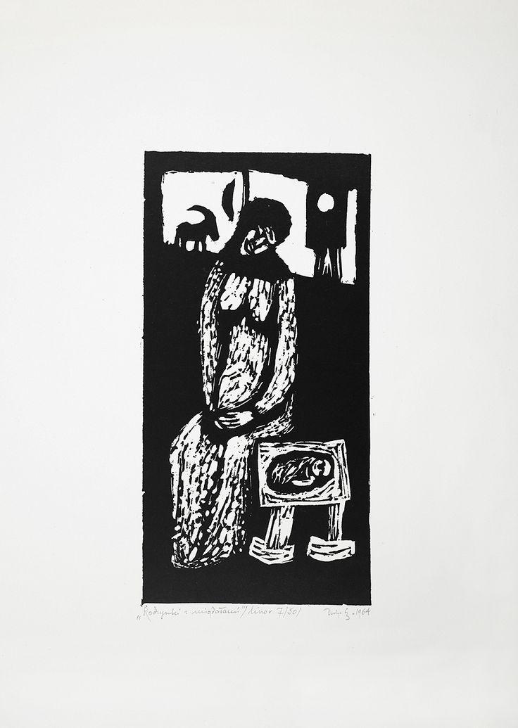 Jerzy Duda Gracz | RODZYNKI Z MIGDAŁAMI, Z CYKLU JUDAICA, 1964 | linoryt, papier | 18.3 x 9.1 cm
