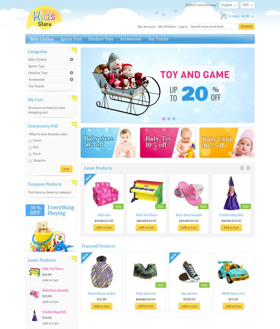This Magento theme for kids comes with CSS3 and HTML5 code, a responsive layout, speed optimization, support for multiple stores and languages, easy customization, custom pages and blocks, and more.