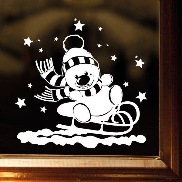 """_Fensterbild """"Schneemann mit Schlitten""""_ zur weihnachtlichen Dekoration in der Farbe **WEISS**  _Mit diesem Angebot erwerben Sie das Wandtattoo in der Größe:_  **40 x 40 cm**  Weitere Größe:..."""