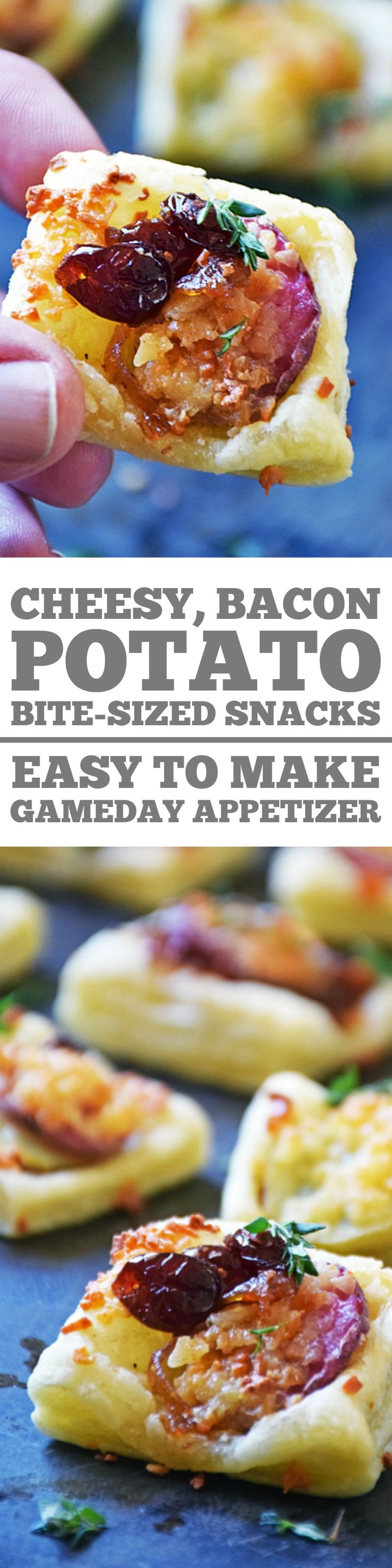Cheesy Bacon Potato Bite-Sized Snacks are a perfect snack to serve on game day. Each bite is loaded with bacon jam, fingerling potato slices, and Gruyere cheese encased in buttery puff pastry. It's an easy recipe that makes a tasty bite sized snack perfect for popping while watching the big game!