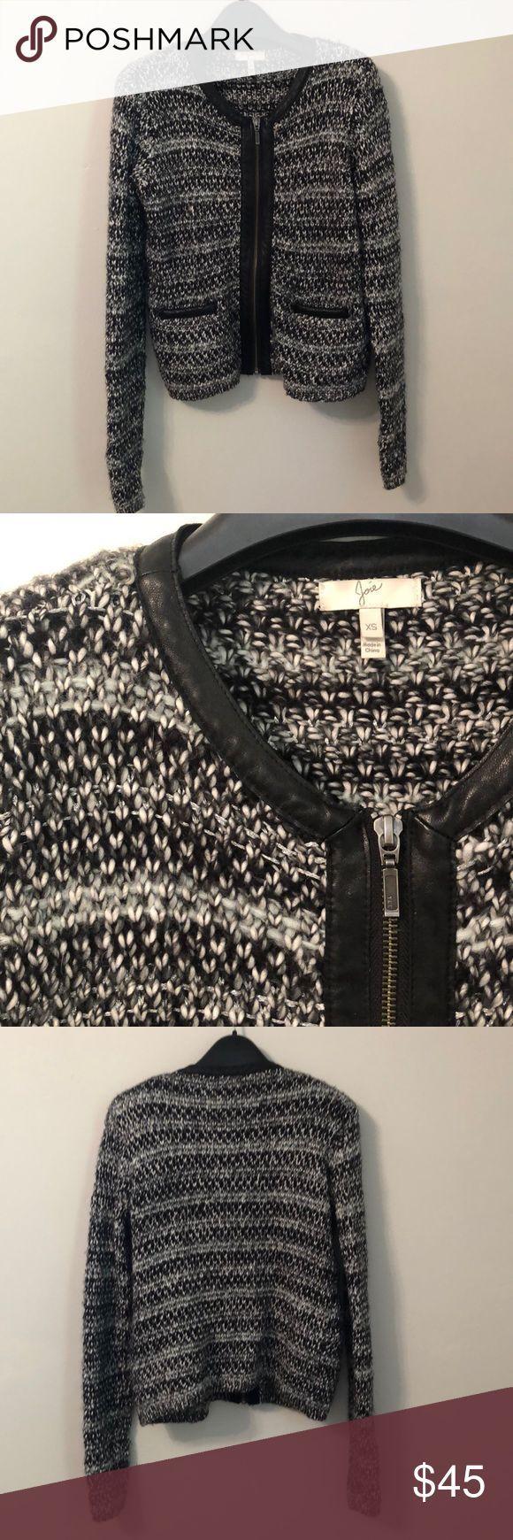 Joie Jaclyn leather trim sweater jacket, XS Structured Joie zip-up cardigan swea…