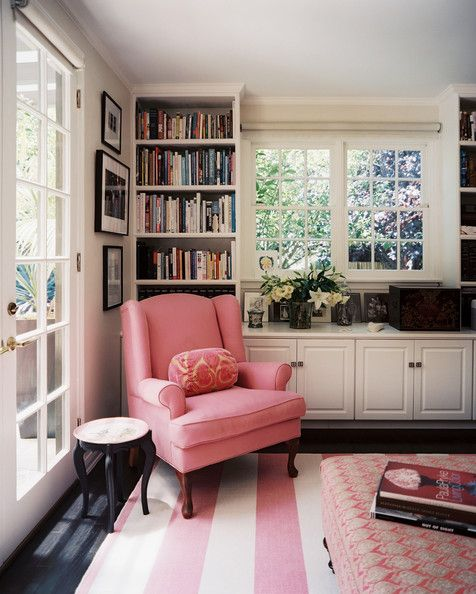 Work Space Photo - A pink wingback chair with a pink-striped rug #pink