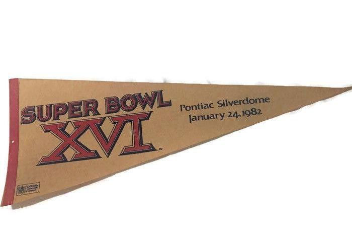 $10....Super Bowl XVI Large Pennant Pontiac Silverdome January 24, 1982 NFL License | #1875470915