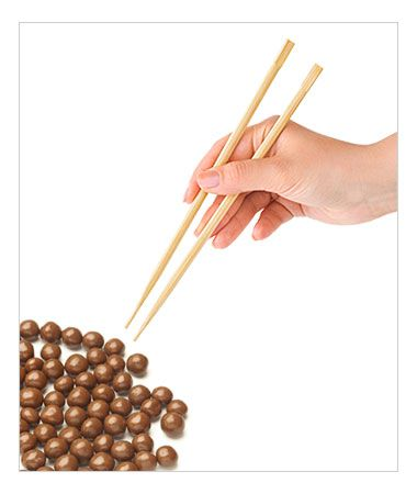 Halloween Party Games - the chocolate balls and chopsticks game