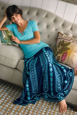 Might be nice evening look in summer. longer top, flexible light flowy skirt. Azul Skirt from Soft Surroundings
