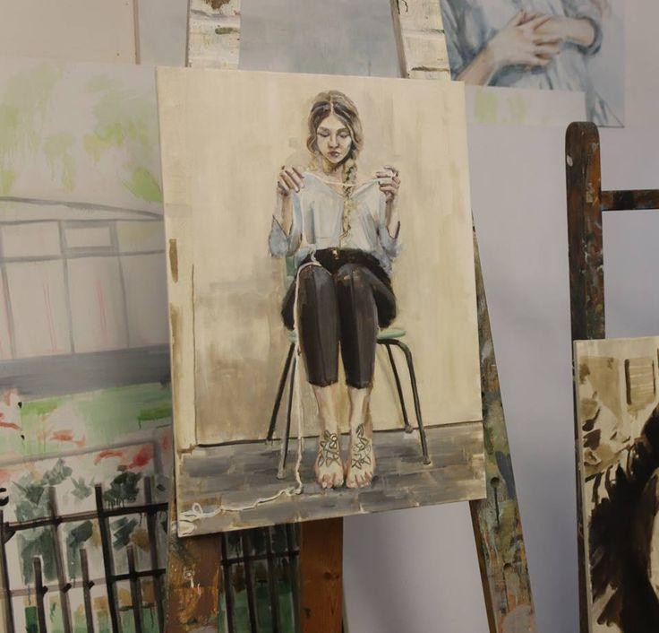 Importance  oil on canvas painting original artwork by Ruta Matuleviciute