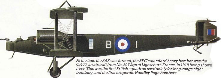Handley PageHP.12 (O/400) Unit: 207 Sqn, RAF Serial: B-I (D4563) Based at Ligescourt, France in 1918, the squadron was the first to operate Handley Page...