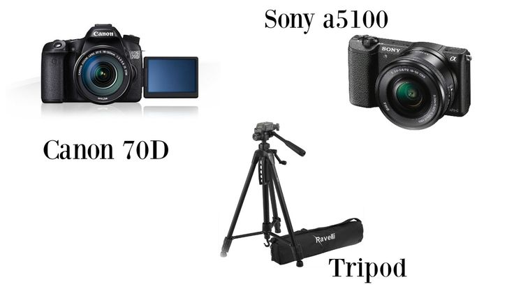 filming equipment, cameras bloggers use, cameras for youtube videos, selfie camera, best tripod, sony a5100, canon 70d
