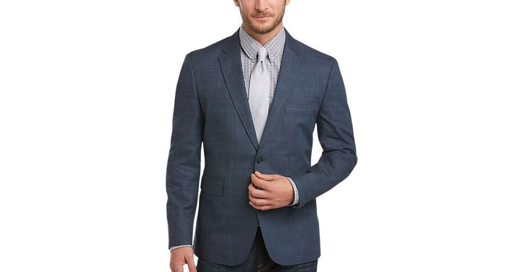 Check this out! Joseph Abboud Navy Plaid Modern Fit Casual Coat - Men's Casual Coats & Jackets from MensWearhouse. #MensWearhouse