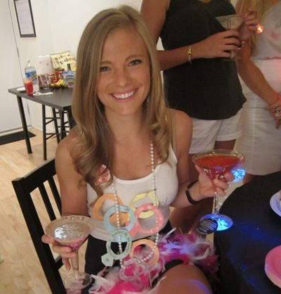 """Bachelorette party, bride wears necklace of """"dares"""" to complete throughout the night."""