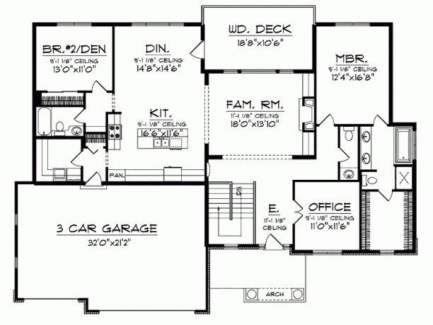 106 best images about ranch house plans on pinterest for Bungalow basement floor plans
