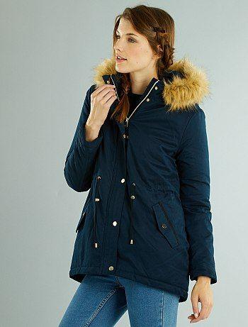 4ecd174b091 Parka con capucha de pelo desmontable bleu marine Mujer - Kiabi ...