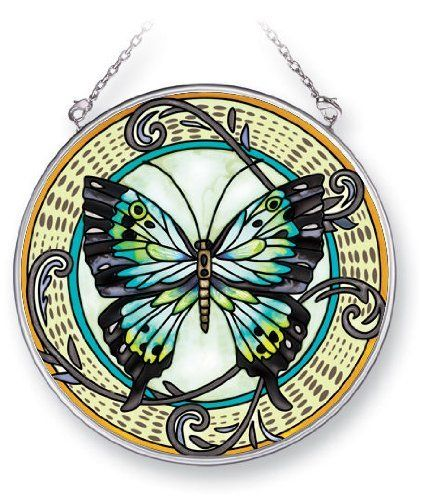 Amia 5338 Suncatcher Featuring a Butterfly Design, Hand Painted Glass, 4-1/2-Inch Circle by Amia. $18.29. Includes chain. Handpainted glass. Comes boxed, makes for a great gift as well. Enjoy this beautiful, handpainted glass suncatcher by Amia. Includes chain for hanging purposes.