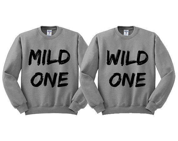 Grey Crewneck Mild One Wild One Best Friends Sweatshirt Sweater Jumper Pullover on Etsy, $16.99