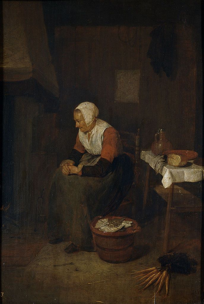 Anciana junto a una chimenea, óleo sobre tabla, Quiringh Gerritsz. van Brekelenkam (fl. 1648–1669)