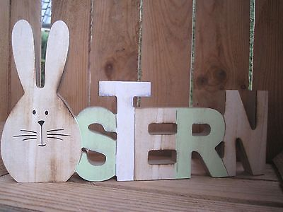 schriftzug ostern hase buchstaben deko shabby landhaus ohren schild holz easter decoration. Black Bedroom Furniture Sets. Home Design Ideas