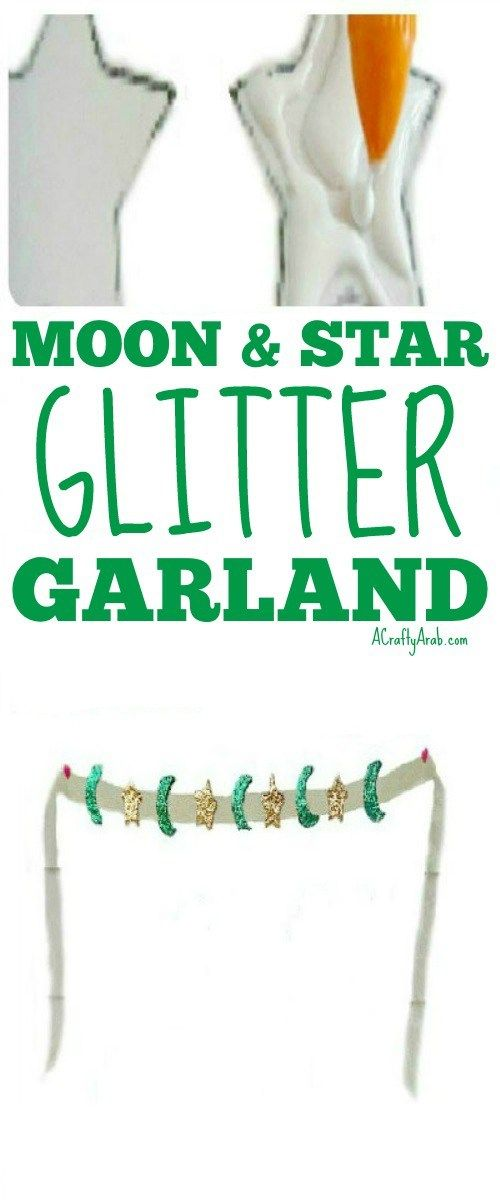 A Crafty Arab: Moon & Star Glitter Garland {Tutorial}. Today we finished the last step from our Ramadan crafts tutorial of moons and stars glittered garland we had made on Saturday to get ready for Eid.  Once the moons and stars had hardened, we simply glued them to the ribbon. They did such a great job of coming out nice and hard and …