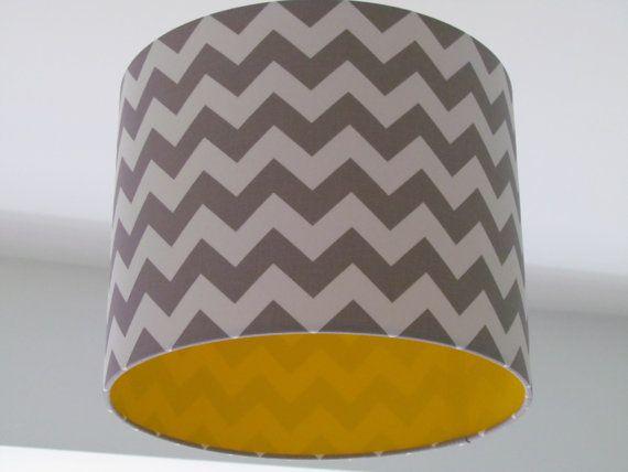 NEW Handmade Minky Grey and White Zig Zag Chevron Yellow Lining Lampshade Lightshade