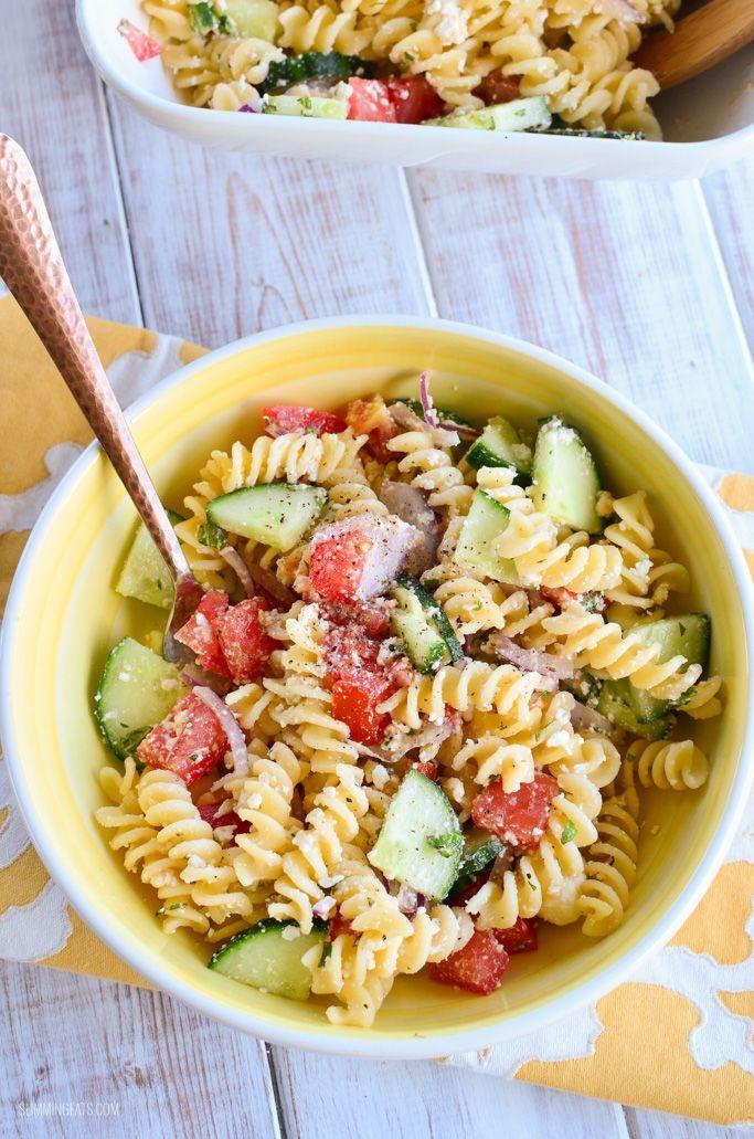 Slimming Eats Greek Pasta Salad - gluten free, vegetarian, Slimming World and Weight Watchers friendly