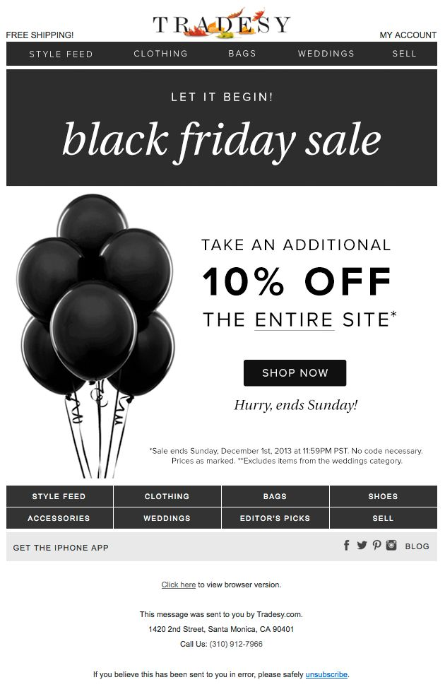 "Tradesy Black Friday email design - Nov. 29, 2013 - ""☆ The Biggest Sale of the Year ☆‏"" (Also sent this email the day before with the subject line of ""Gobble this Sale Up!‏"")"