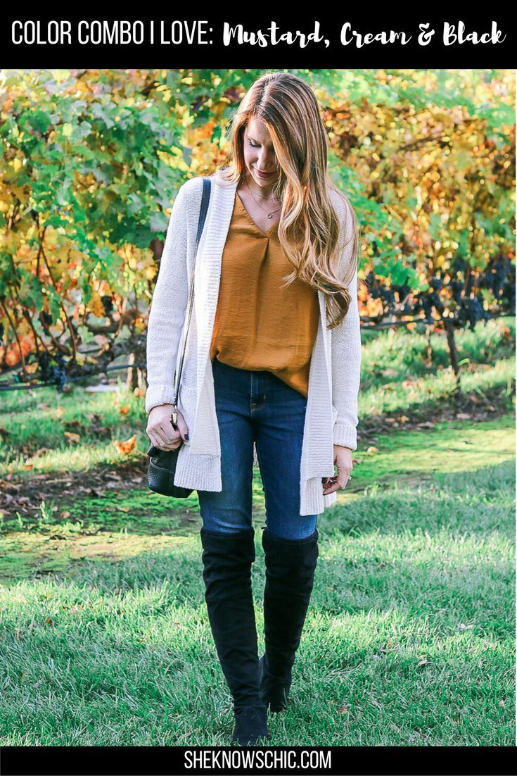 mustard, cream, and black outfit. mustard top, yellow top, cream cardigan, fall outfit, fall outfit idea, winter outfit, winter outfit idea, over the knee boots casual outfit, outdoor fall outfit