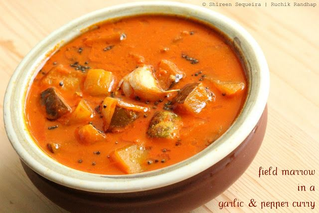 Ruchik Randhap (Delicious Cooking): Mogem Losun Miri (Field Marrow/Madras Cucumber in a Garlic & Pepper Curry)