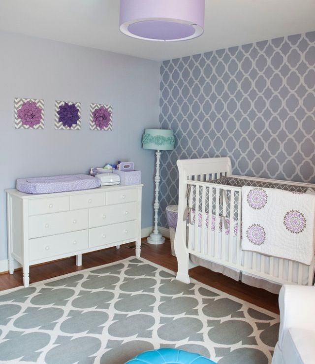 Grey Purple Pastel Girl Nursery Baby Room Pinterest