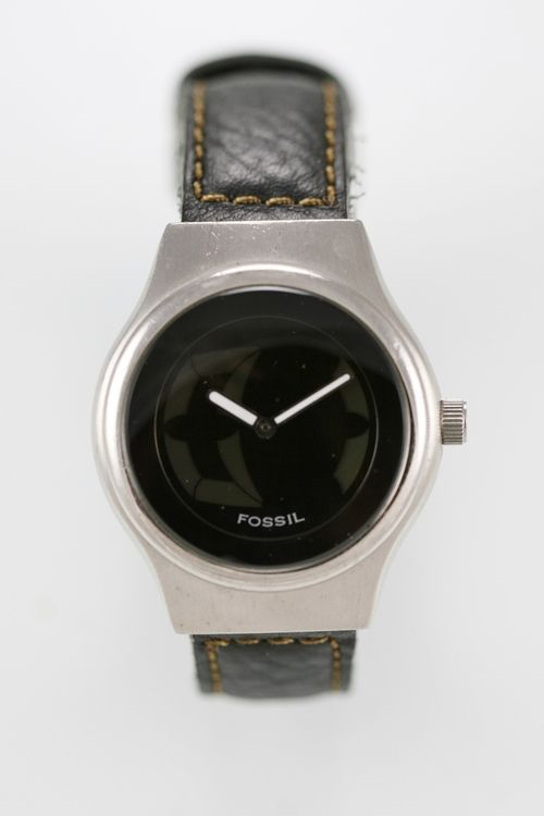 Fossil Big Tic Watch Men Stainless Steel Silver Battery 50m Leather Black Quartz
