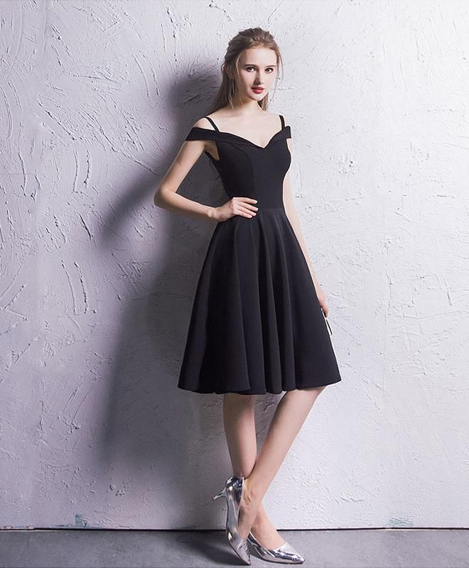 Simple Black Chiffon Prom Dress Black Homecoming Dress Short Prom