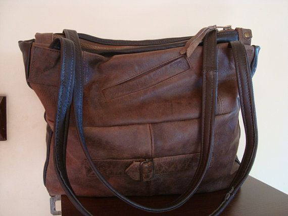 brown recycled leather bag by BagsBand on Etsy