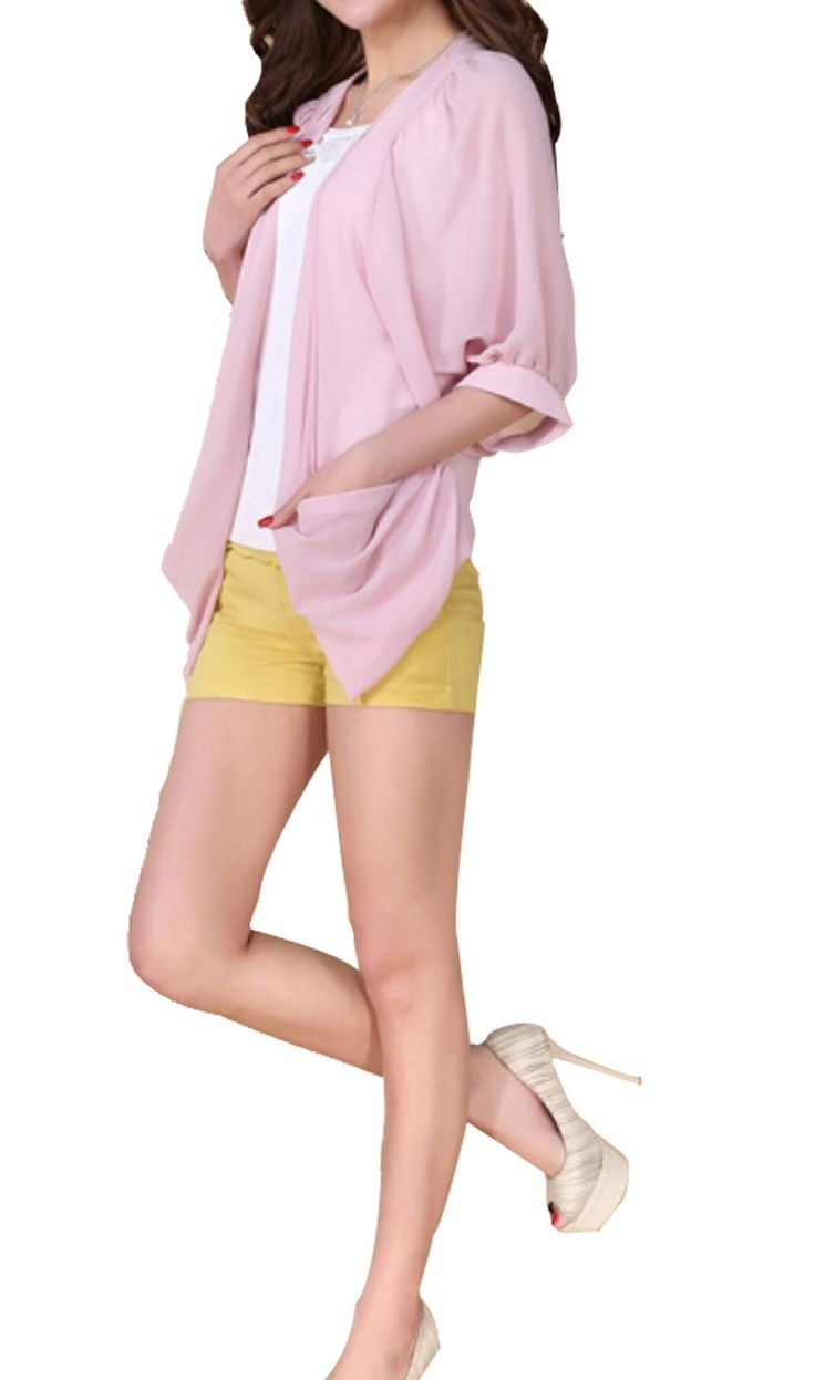 Ghope Women Bolero Chiffon Cardigan Summer Pink at Amazon Women's Clothing store: