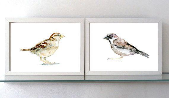 Mussen schilderij  set van 2 prints  Aquarel mus  door Zendrawing