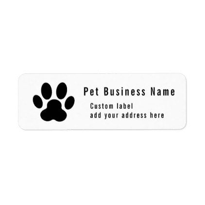 black paw print Pet Services Custom Label - cat cats kitten kitty pet love pussy