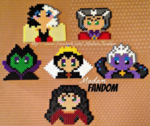 Disney Girl Villains Christmas Ornaments, Set of 6 perler beads by MadamFandom http://www.facebook.com/MadamFandom