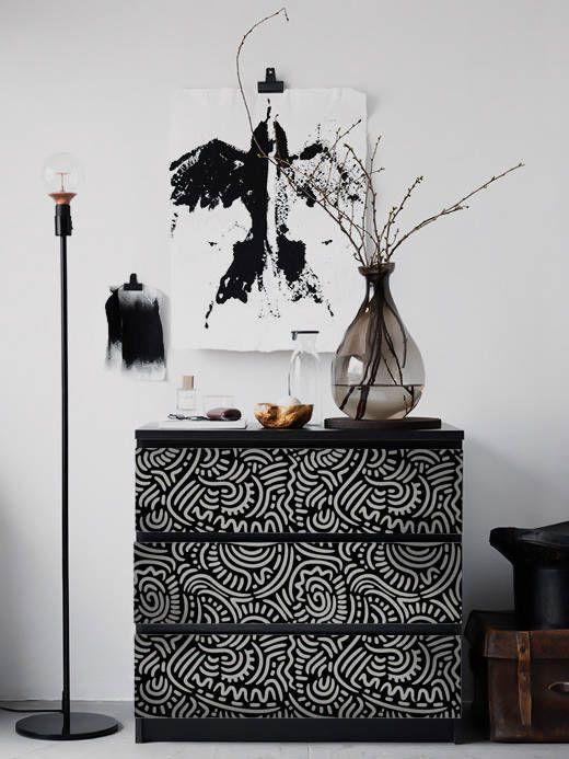 Abstrait Noir Et Blanc Motif De Ikea Malm Commode Amovible