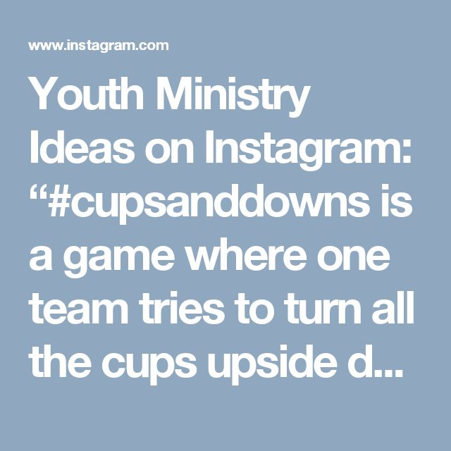 """Youth Ministry Ideas on Instagram: """"#cupsanddowns is a game where one team tries to turn all the cups upside down and the other team tries to turn them right side up. At the end of the time, whoever has the most their way wins. Simple, inexpensive game that could bring a lot of energy. Idea and video by: 👉🏻@humpheryhh👈🏻 #youthgames #youthministryideas #stumin #youthmin"""""""